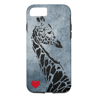 Blue Gray BG Giraffe with Red Heart iPhone 7 Case