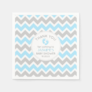 Blue Gray Chevron Baby Shower table decor, Disposable Napkin