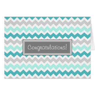 Blue Gray Chevron Congratulations New Baby Boy Greeting Card
