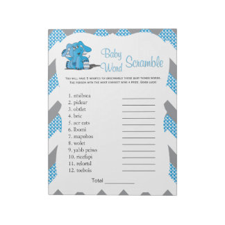 Blue & Gray Chevron Elephant Baby Word Game 2 Notepad