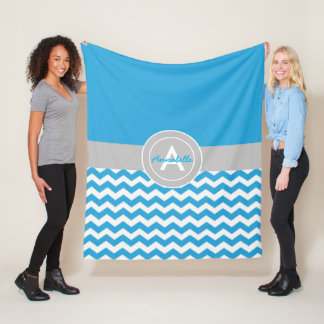 Blue Gray Chevron Fleece Blanket