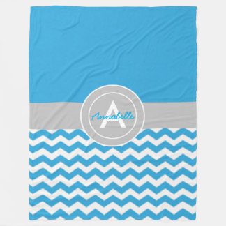 Blue Gray Chevron Fleece Blanket