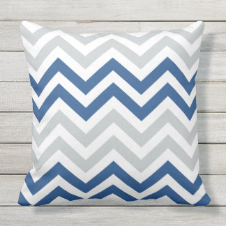 Blue Gray Chevron Zigzag Pattern Cushion