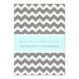 Blue Gray Chevrons Engagement Announcement Cards