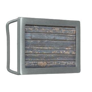 Blue Gray Clapboard Rectangular Belt Buckles