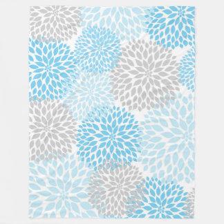 Blue Gray Dahlia floral fleece blanket