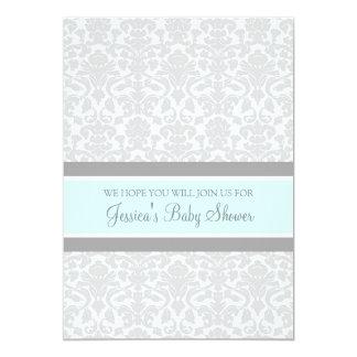 Blue Gray Damask Custom Baby Shower Invitations