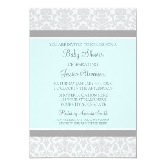Blue Gray Damask Custom Baby Shower Invitations
