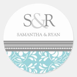 Blue Gray Damask Monogram Envelope Seal Round Sticker