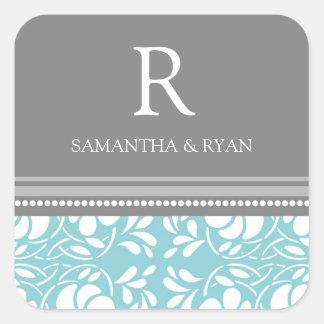 Blue Gray Damask Monogram Envelope Seal Square Sticker