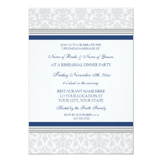 Blue Gray Damask Rehearsal Dinner Party 13 Cm X 18 Cm Invitation Card