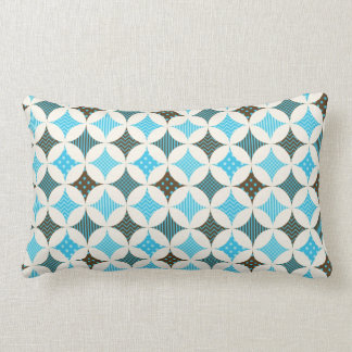 Blue Gray Diamond Circle Pattern Design Lumbar Cushion