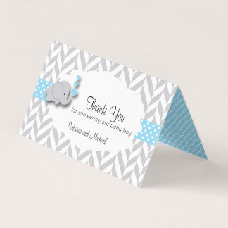 Blue & Gray Elephant Baby Shower | Candy Toppers Business Card