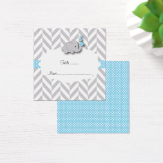 Blue & Gray Elephant Baby Shower Flat Place Card