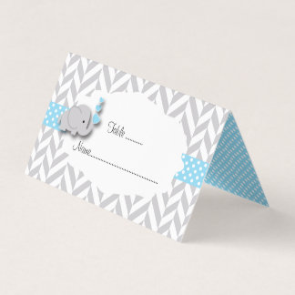 Blue & Gray Elephant Baby Shower   Place Cards