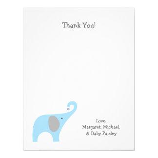 Blue Gray Elephant Baby Shower Thank You Notes Custom Invite