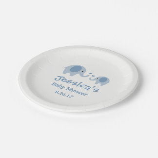 Blue & Gray Elephants Baby Shower Paper Plates 7 Inch Paper Plate
