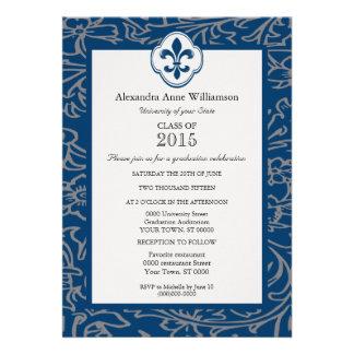 Blue Gray Fleur de Lis Floral Formal Graduation Custom Announcements