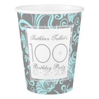 Blue Gray Floral 100th Birthday Party Paper Cup