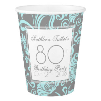 Blue Gray Floral 80th Birthday Party Paper Cup