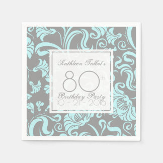 Blue Gray Floral 80th Birthday Party Paper Napkin