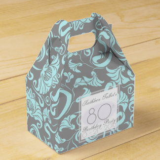 Blue Gray Floral 80th Birthday Thank You Favor Box