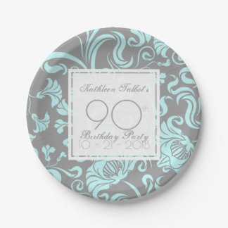 Blue Gray Floral 90th Birthday Party Paper Plate