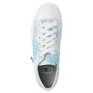 Blue Gray Floral shoes, blue grey dahlia sneakers