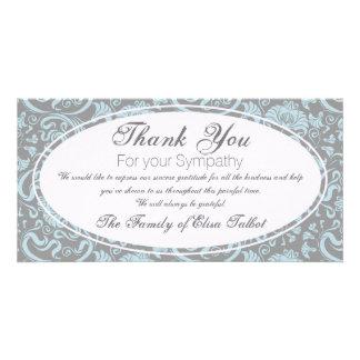 Blue Gray Floral Sympathy Thank You Photo card