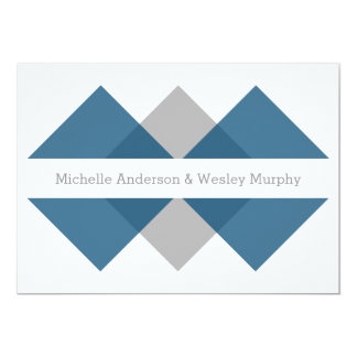 Blue Gray Geometric Triad Wedding Invite