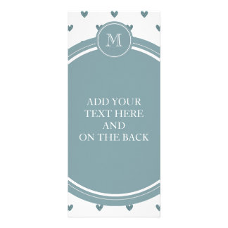 Blue Gray Glitter Hearts with Monogram Personalized Rack Card