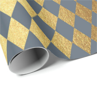 Blue Gray Gold Geometry Chessboard Diamond Cut Wrapping Paper