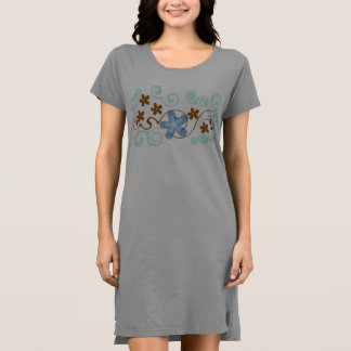Blue Gray Green Brown Abstract Floral Tunic Dress