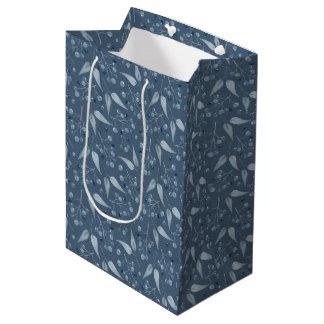 Blue-Gray Monochromatic Leafs & Berries Pattern Medium Gift Bag