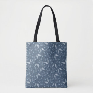 Blue-Gray Monochromatic Leafs & Berries Pattern Tote Bag