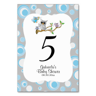 Blue & Gray Owl Baby Shower Theme Table Numbers
