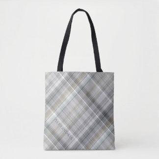 Blue/Gray/Tan Plaid Tote Bag