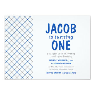 Blue & Gray Tartan Plaid Baby Boy Birthday Party 17 Cm X 22 Cm Invitation Card