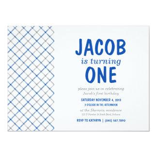 Blue & Gray Tartan Plaid Baby Boy Birthday Party Card