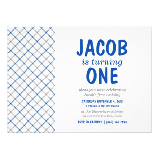 Blue Gray Tartan Plaid Baby Boy Birthday Party Personalized Invite