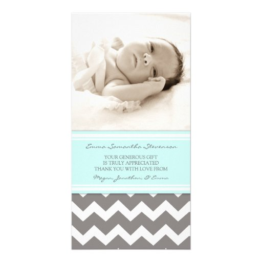 Blue Gray Thank You Baby Shower Photo Cards
