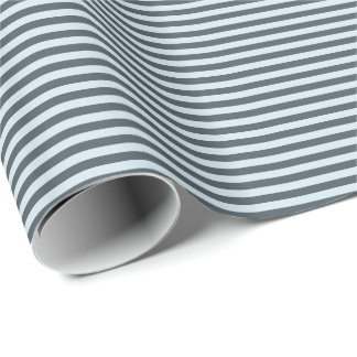 Blue Gray Thin Stripes Holiday Gift Wrapping Paper