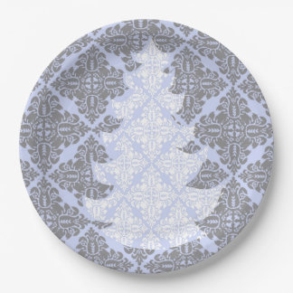 Blue Gray  Vintage Damask Lace Christmas Tree 9 Inch Paper Plate