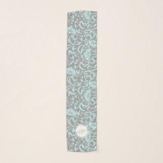Blue Gray Vintage Floral Pattern Long Scarf