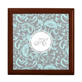 Blue Gray Vintage Floral Pattern Monogram Gift Box