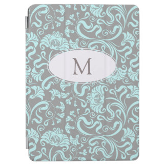 Blue Gray Vintage Floral Pattern Monogram iPad C iPad Air Cover