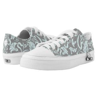 Blue Gray Vintage Floral Pattern Monogram L Shoes