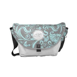 Blue Gray Vintage Floral Pattern Monogram M Bag Commuter Bag