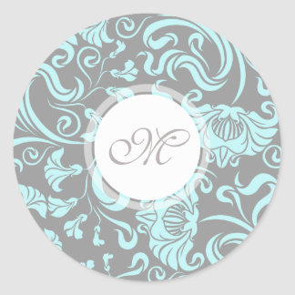 Blue Gray Vintage Floral Pattern Monogram Round S Round Sticker