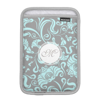 Blue Gray Vintage Floral Pattern Monogram Sleeve